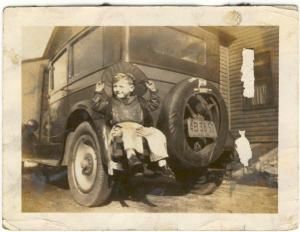 my grampa as a little boy, hitching a ride on life